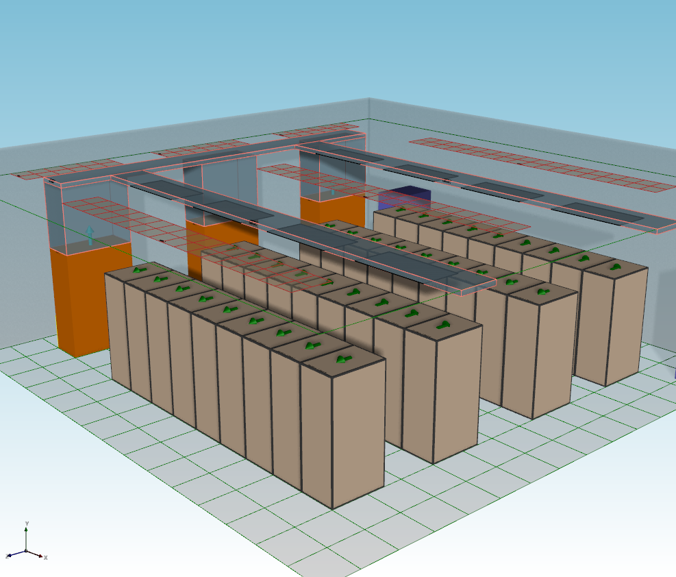 Non rasied floor data centers can be modeled in CoolSim